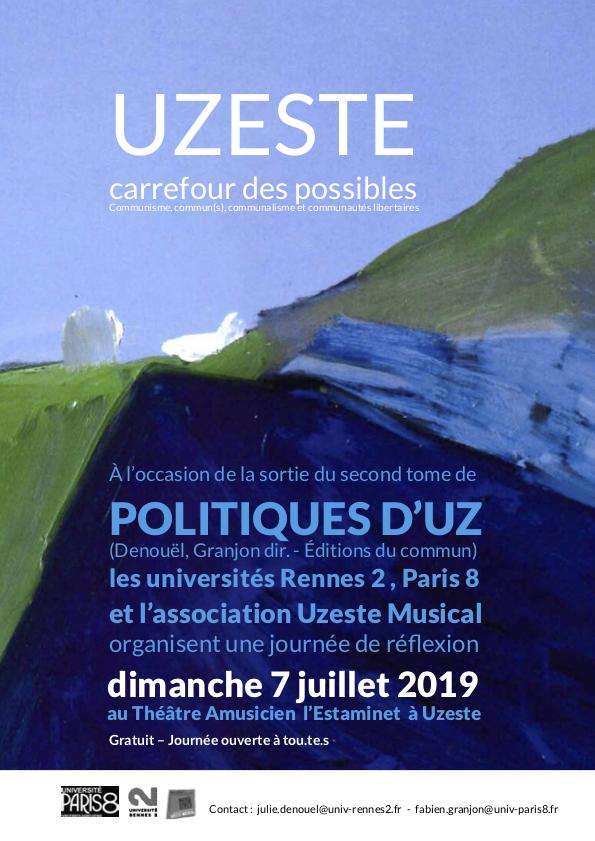 Journée d'étude — Uzeste carrefour des possibles : communisme, commun(s), communalisme et communautés libertaires – Uzeste/Théâtre amusicien – 7 juillet 2019